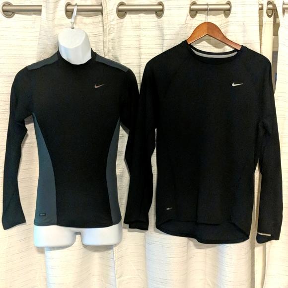 2 Mens Nike DriFit Long sleeve shirts Sm&Med